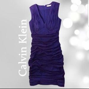 Calvin Klein Purple Ruched Dress Size 4